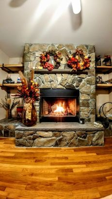 Wood fireplace with manufactured stone - brownstone hearth mantle - Copy